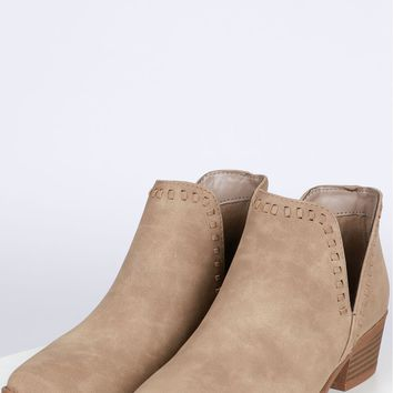 Suede Stitched Bootie Light Taupe