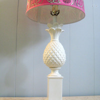 Vintage HOLLYWOOD REGENCY White PINEAPPLE Lamp by fabulousmess