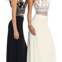 Long Two Piece Set Prom Dress Formal Evening Gown