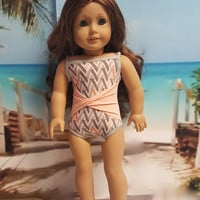 "Contemporary 18 inch doll clothes ""With a Twist of Peach"" Will fit American Girl® Swimsuit bathing suit beach Liberty Jane Pattern H5"