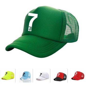 Trendy Winter Jacket Vinyl Printing Adult RONALDO Caps mesh meret juventus Baseball cap mens Quick dry sports Trucker Hats Football No.7 JJ Snapbacks AT_92_12