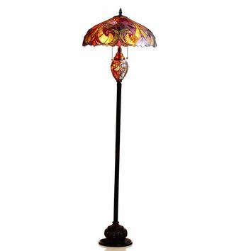 "LIAISON Tiffany-style 3 Light Victorian Double Floor Lamp 18"" Shade"