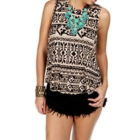 Tan/Black Tribal Print Slit Back Top