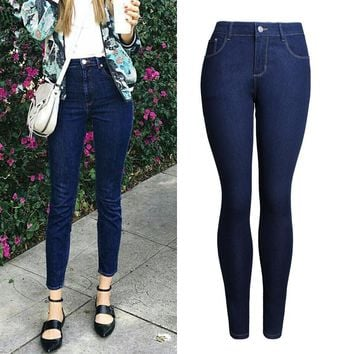 High-Waist Jeans Ankle-Length Stretchable Denim Skinny Pencil Blue Jeans