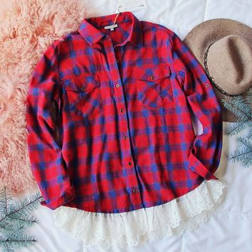 Flannel & Lace Top