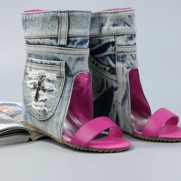 Leather Strap Toe Ankle Boots Pocket Side Denim Increased Wedge Heel Boots