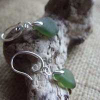 Scottish sea glass sterling silver romantic earrings with green sea glass, sterling silver scottish sea glass drop earrings swirly circle