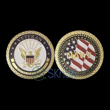 Gold Plated U.S. Navy Emblem Veteran With Flag coins USA eagle Challenge Coin United State Coin Commemorative Coin as gift