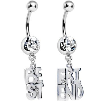 Clear Gem Banner of Best Friend Dangle Belly Ring Set