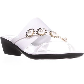 Tuscany by Easy Street Paradiso Flower Wedge Sandals, White Patent, 8 N US