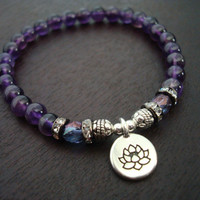 Women's Amethyst Lotus Mala Bracelet - Or Choose a Charm - Yoga, Buddhist, Meditation, Prayer Beads, Jewelry, Yoga Jewelry