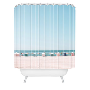 Hello Twiggs Beach Huts Shower Curtain