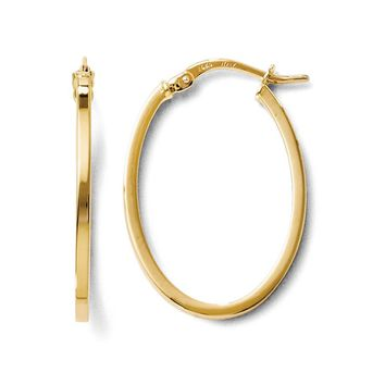 1.5mm Square Tube Oval Hoop Earrings in 14k Yellow Gold, 26mm (1 Inch)
