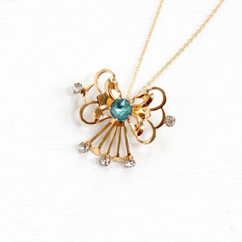 Vintage 12k Yellow Gold Filled Rhinestone Pendant Necklace - Mid-Century 1940s 1950s Baby Blue & Clear Stone Bow Jewelry Van Dell