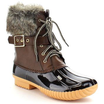 Fashion Online Women's Faux Fur Leather Pvc Ankle Chic Lace Up Buckled Strap Duck Waterproof Rain Boots Shoes