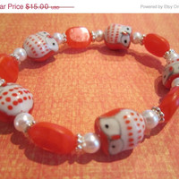ON SALE Orange Ceramic Owl Bracelet with Orange Czech Beads, Glass Pearls, and Silver-Plated Accents
