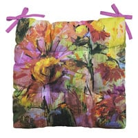 Ginette Fine Art Abstract Echinacea Flowers Outdoor Seat Cushion