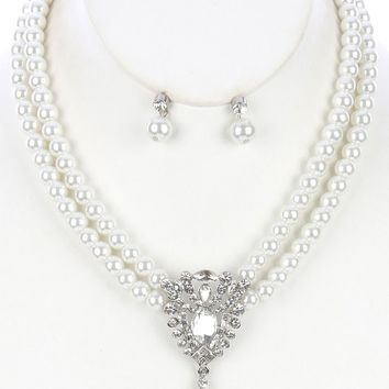 Teardrop Glass Stone Charm Double Str Pearl Bib Crystal Stone Cluster  Setting  Necklace Earring Set