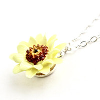 Vintage Sunflower Necklace - Sterling Silver Dainty Yellow Enamel Jewelry / Summer Floral