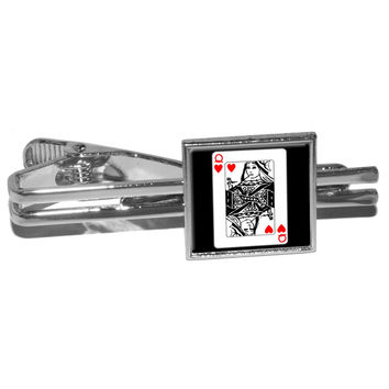 Playing Cards Queen of Hearts Square Tie Clip
