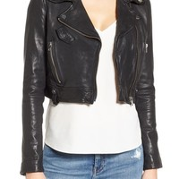 LaMarque Washed Leather Crop Moto Jacket | Nordstrom