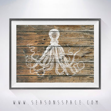 Octopus 3 art illustration, Sea life, Nautical, Wall art, Rustic Wood Ocean art, Animal print, Home Decor, Animal silhouette, Kitchen decor