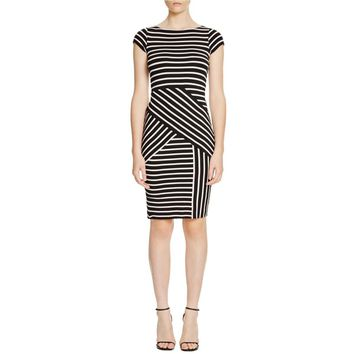 Dylan Gray Womens Striped Cap Sleeves Wear to Work Dress