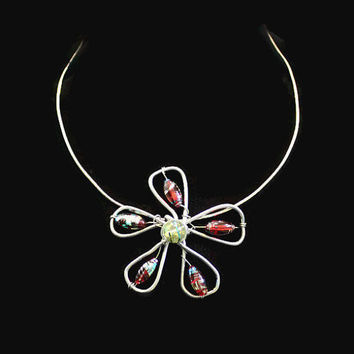 Flower Necklace, Choker, Rainbow Metallic Beads and Silver Tone Wire, Boho Jewelry