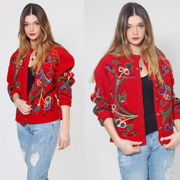 Vintage 90s NORWEGIAN Wool Sweater VRIKKE Sweater Red EMBROIDERED Folk Sweater Wool Cardigan Jumper