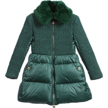Versace Girls Luxury Green Coat with Fur