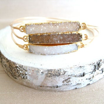 Sparkling druzy bangle 14K gf Gift for her Under 55 Vitrine Holiday Fashion Assorted colors white cream smoky