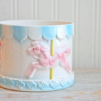 Vintage Musical Carousel Baby Planter - Pink and Blue
