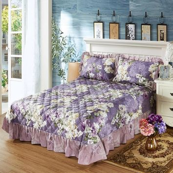 Violet Petal Ruffled Luxury Quilted Bedspread