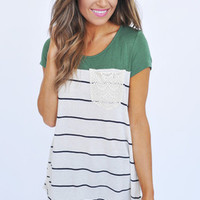 Olive/Striped Crochet Pocket Top