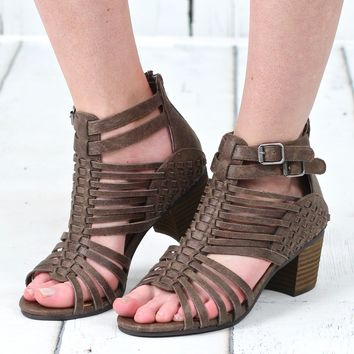Not Rated: Ofanto Strappy Caged Heeled Sandal {Taupe}
