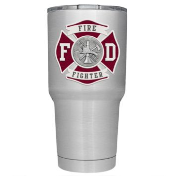 Red Fire Department Badge on Stainless 30 oz Tumbler
