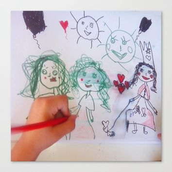 Me and my friends | Kids Drawing Canvas Print by Azima