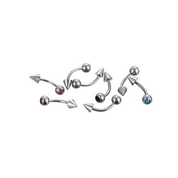 18g Stainless Steel Crystal 10pcs Spike and Gem Labrete Eyebrow Ring Curved Barbells Jewelry Rings Body Piercing