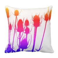 Colorful Thistle Throw Pillow