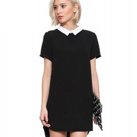 Black Peter Pan Collar Zip Up Mini Dress
