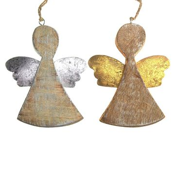 Hanging Wooden Distressed Angel with Tin Wings Christmas Ornament, 5-1/4-Inch