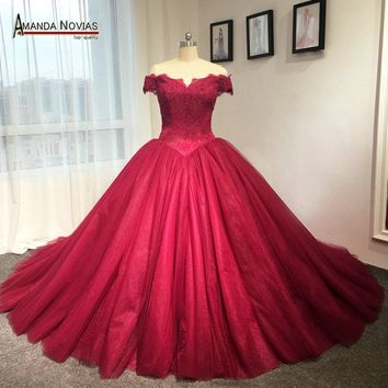 Off the shoulder puffy princess red wedding dresses