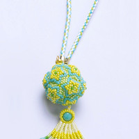 Beaded Yellow Star Ball Ornament Charm with four-strand braided rope strap, home decor , 1306ch_yel