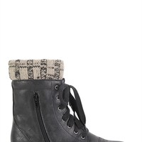 Faux Leather Sweater Trim Combat Boot with Lace Up Front