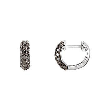 10mm Black Diamond Hinged Round Hoop Earrings in 14k White Gold