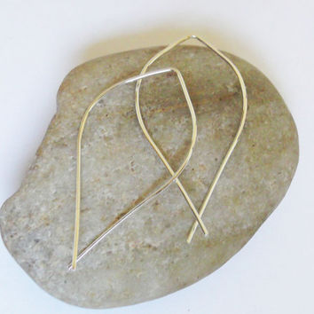 Open Hoops, Sterling Silver, Elongated, Marquis