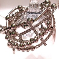 Bracelet silver tone beads with rhinestone crosses