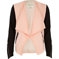 Coral colour block waterfall biker jacket