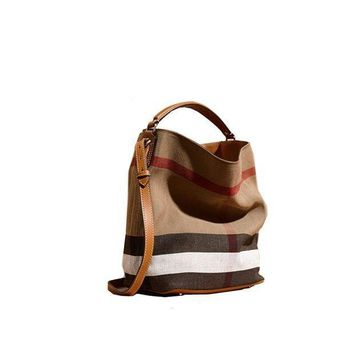 Fashionable Brand Burberry The Ashby Medium Canvas Check Pattern Leather Eshibe Handbags Brown