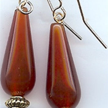 Egyptian Carnelian Teardrop Earrings - 7282